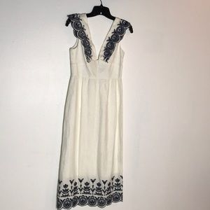 Jcrew Collection linen embroidered dress